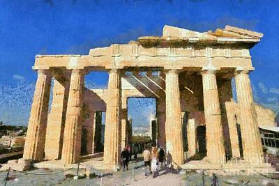 Entrance In Acropolis Of Athens Poster by George Atsametakis
