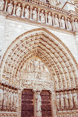 Entrance To Notre Dame Cathedral Poster
