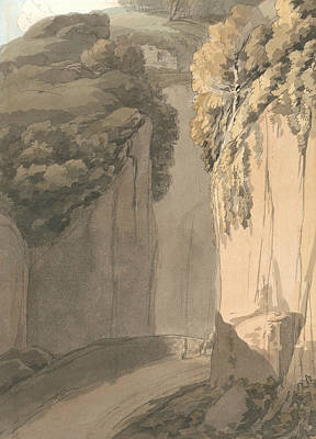 Entrance To The Grotto At Posilippo, Naples Poster by Francis Towne