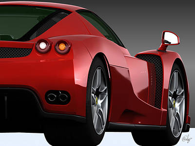 Enzo Ferrari Rojo Vivo Poster