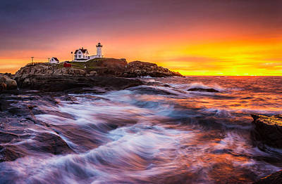 Epic Sunrise At Nubble Lighthouse Poster