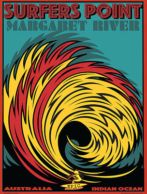 Epic Surf Designs Surfers Point  Poster by Larry Butterworth