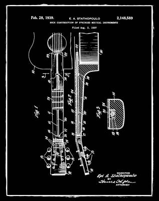 Epiphone Guitar Patent 1939 Black Poster by Bill Cannon