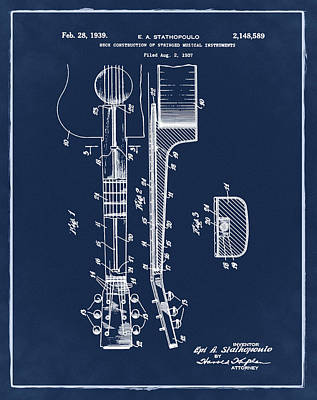 Epiphone Guitar Patent 1939 Blue Poster by Bill Cannon