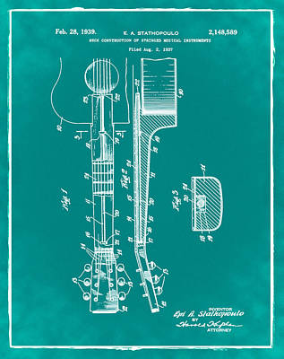 Epiphone Guitar Patent 1939 Green Poster by Bill Cannon