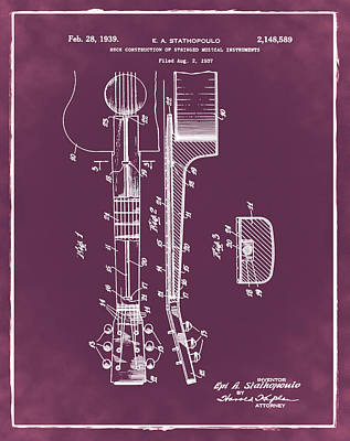 Epiphone Guitar Patent 1939 Red Poster by Bill Cannon