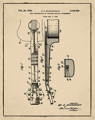 Epiphone Guitar Patent 1939 Sepia Poster by Bill Cannon