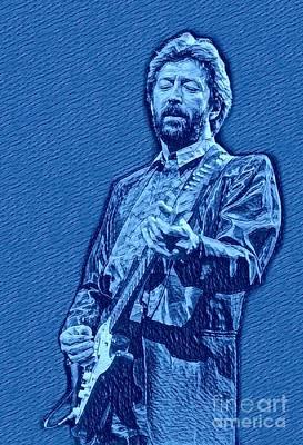 Eric Clapton Blue Pastel Poster