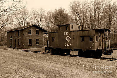 Erie Rr Line Caboose In Black And White Poster