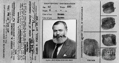 Ernest Hemingway Military Identification  Poster by Jon Neidert