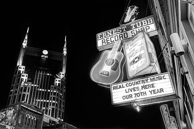 Ernest Tubb Record Shop - Downtown Nashville - Black And White Poster