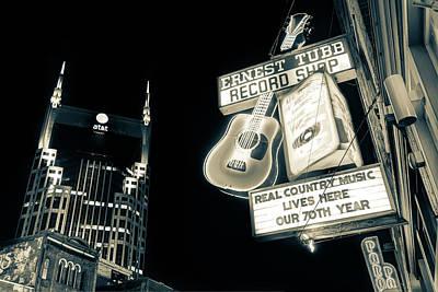 Ernest Tubb Record Shop - Downtown Nashville - Sepia Poster