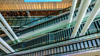 Escalators And Columns In Munich Airport Poster