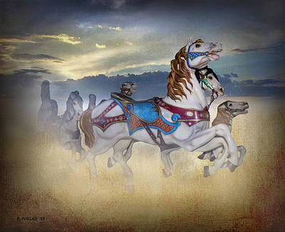 Escape Of The Carousel Horses Poster by Brian Wallace