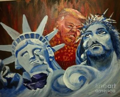 Poster featuring the painting Escape On Tears Of Love And Liberty by Saundra Johnson