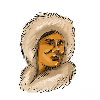 Eskimo Inuit Hooded Parka Watercolor Poster