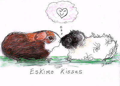 Poster featuring the drawing Eskimo Kisses by Denise Fulmer