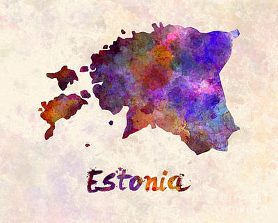 Estonia In Watercolor Poster by Pablo Romero