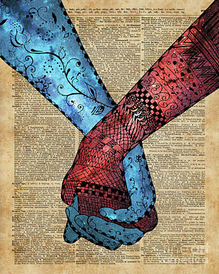 Eternal Love,holding Hands,space Design,dictionary Art,zentagle Poster by Jacob Kuch