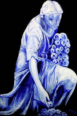 Flower Girl In Blue Poster