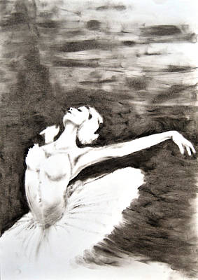 Ethereal Black And White Ballerina Poster 4  - By Diana Van Poster
