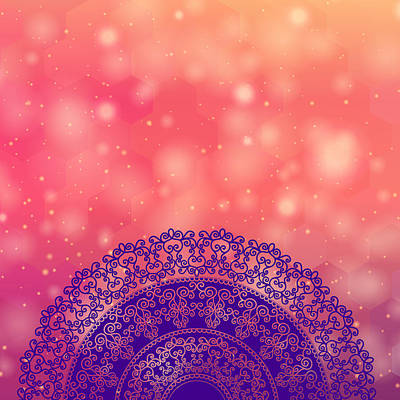 Ethnic Mandala On Geometric Pattern Poster