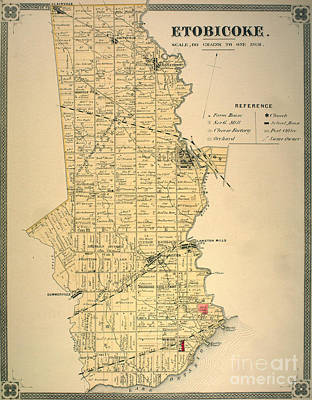 Etobicoke Map 1878 Poster by Celestial Images