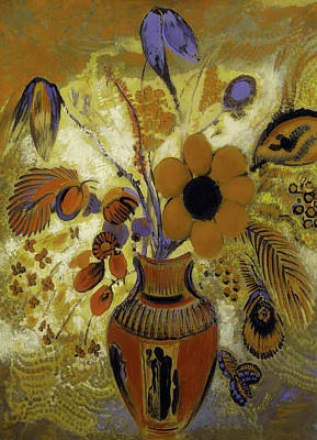 Poster featuring the painting Etrusian Vase With Flowers by Odilon Redon