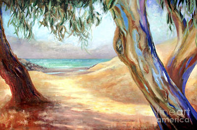 Poster featuring the painting Eucalyptus Beach Trail by Michael Rock