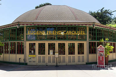 Poster featuring the photograph Eugene Friend Carousel At The San Francisco Zoo San Francisco California Dsc6331 by San Francisco Art and Photography