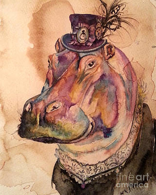 Poster featuring the painting Eunice Hippo by Christy  Freeman