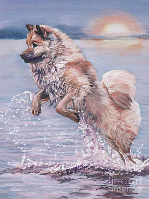 Poster featuring the painting Eurasier In The Sea by Lee Ann Shepard