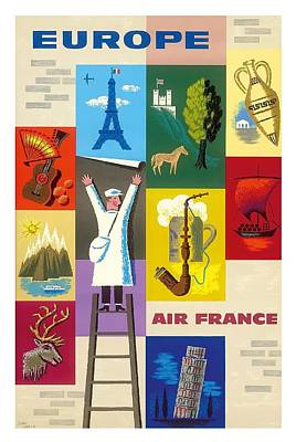Europe Icons Of The European Countries Vintage Travel Poster By Jean Carlu Poster by Retro Graphics