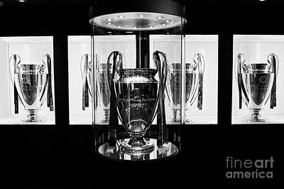 european cup champions league trophy room in museum Liverpool FC anfield stadium Liverpool Merseysid Poster