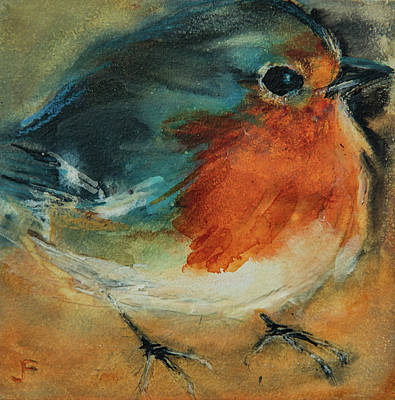Poster featuring the painting European Robin 2 by Jani Freimann