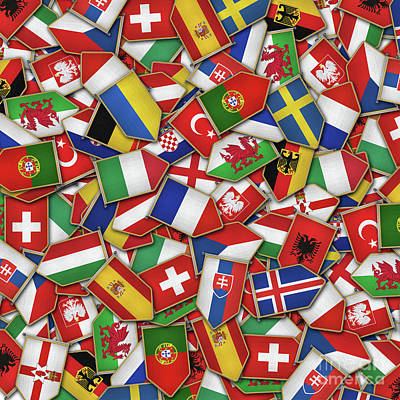 European Soccer Nations Flags Poster
