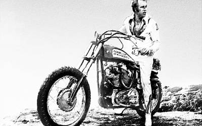Evel Knievel Painting Black And White Poster by Tony Rubino