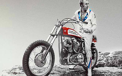Evel Knievel Painting Spot Color Large Poster by Tony Rubino