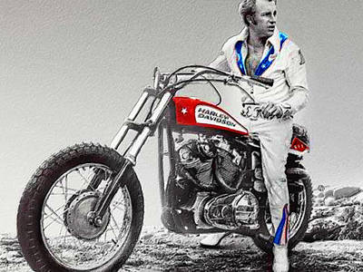 Evel Knievel Painting Spot Color Small Poster by Tony Rubino