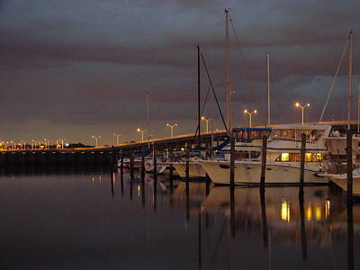 Evening At The Twin Dolphin Marina Poster
