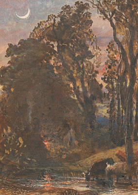 Evening, Cattle Watering Poster by Samuel Palmer