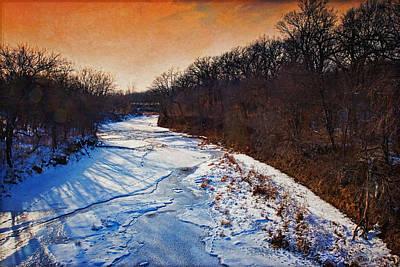 Evening Frozen Creek Poster