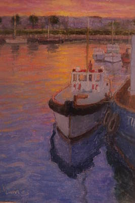 Evening Gisbourne Harbour Poster