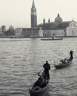 Poster featuring the photograph Evening Gondoliers, Venice, Italy by Richard Goodrich