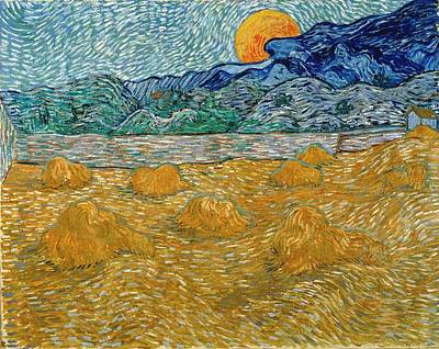 Poster featuring the painting Evening Landscape With Rising Moon by Van Gogh