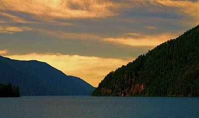 Evening Light At Lake Crescent Poster by Dan Sproul