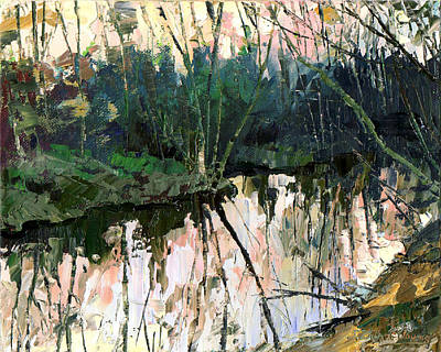 Poster featuring the painting Evening On A Spring River by Sergey Zhiboedov