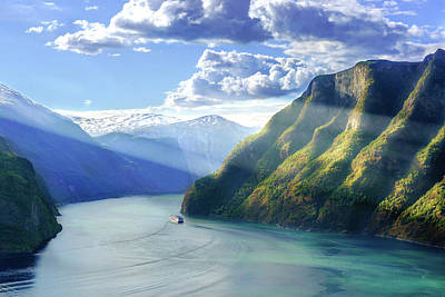 Poster featuring the photograph Evening Over Geirangerfjord by Dmytro Korol