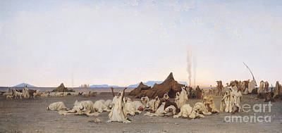 Evening Prayer In The Sahara Poster by Gustave Guillaumet