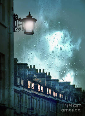 Evening Rainstorm In The City Poster by Jill Battaglia
